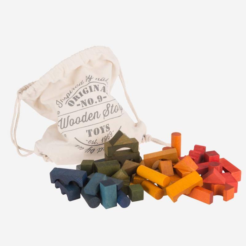 Holzbausteine Set Rainbow im Sack 100 St.