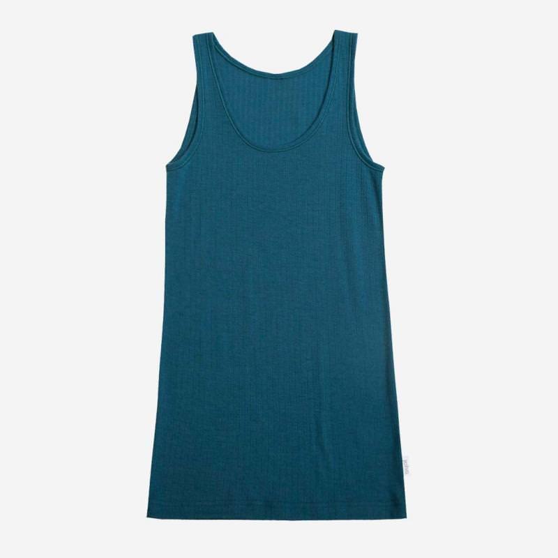 Unterhemd Merinowolle petrolblau