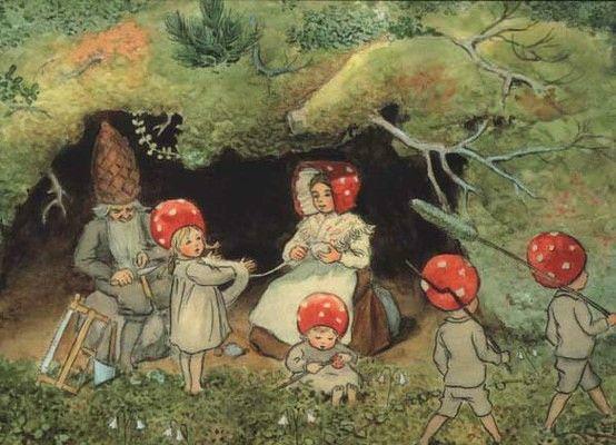 Postkarte Wichtelkinder (Familie)