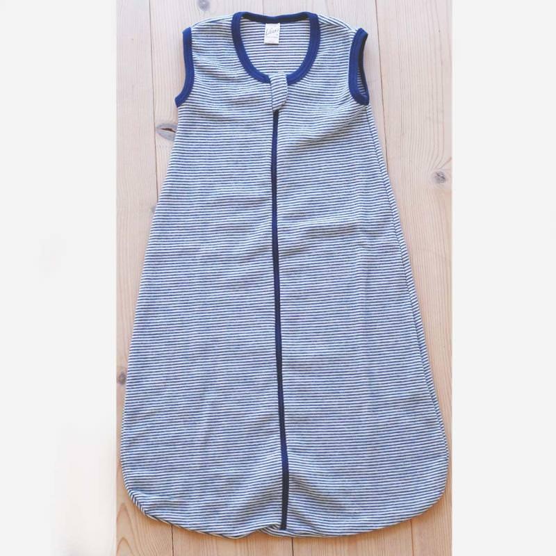 Schlafsack ohne Arm Wolle/Seide Ringel marine