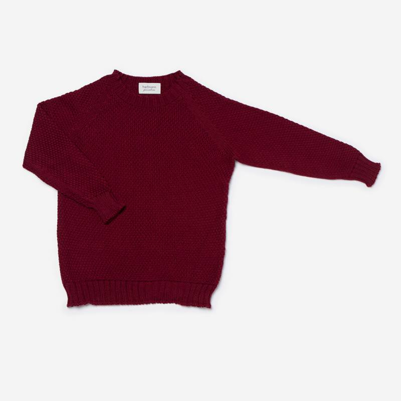 Pullover Strickmuster Wolle bordeaux
