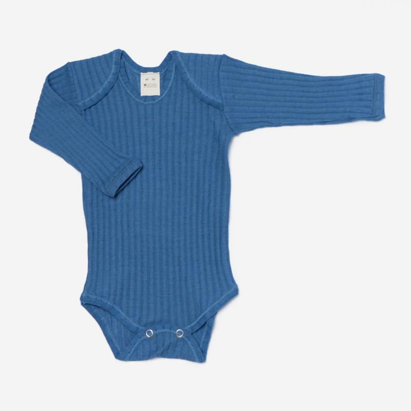 Body Wolle/Seide gerippt blau