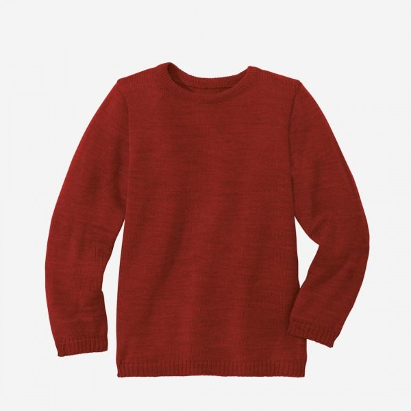 Basic Pullover Wolle bordeaux
