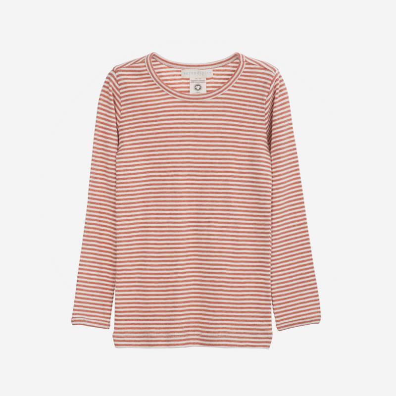 Shirt Slim Stripe brick/offwhite