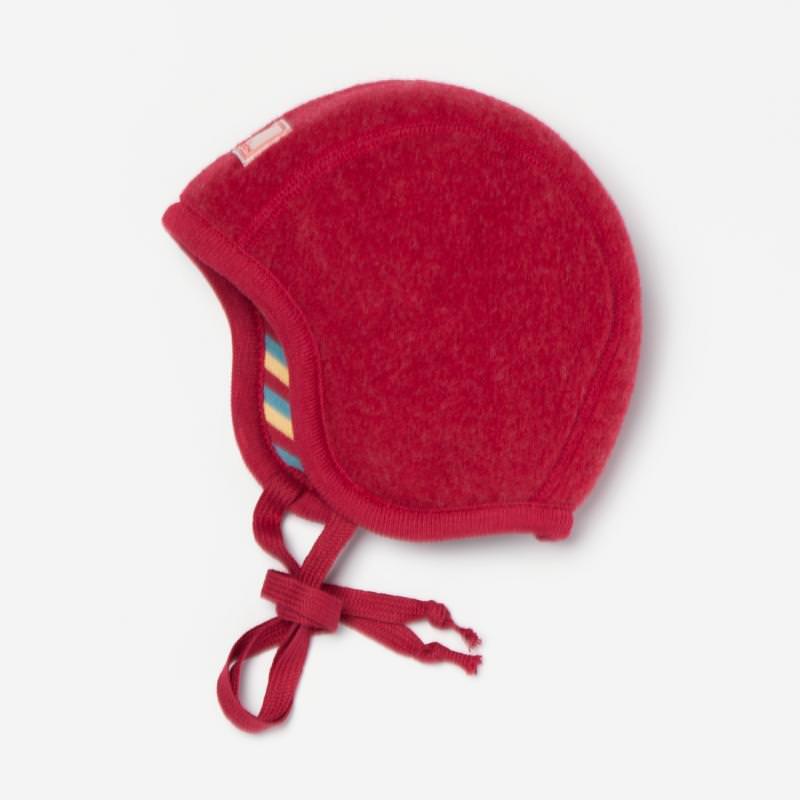 Mütze Luc Wollfleece rot mélange-gestreift