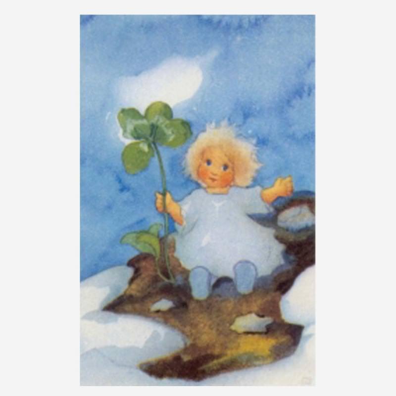 Postkarte Glücksklee