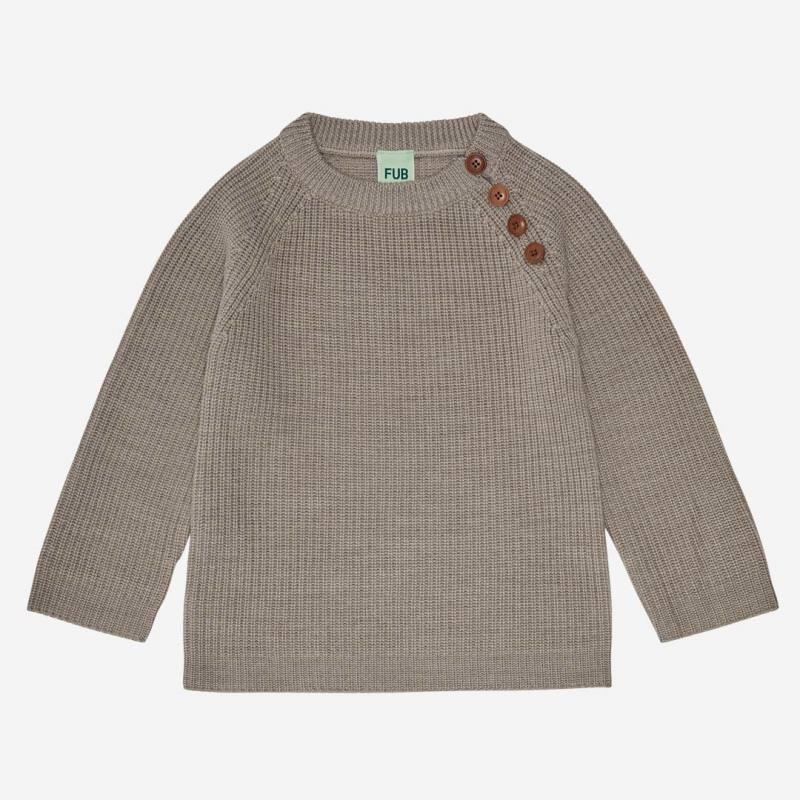 Rib Sweater Wolle beige melange