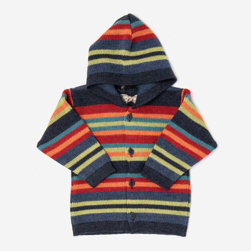 Baby und Kinder Kapuzenjacke Streifen aus Wolle von Flomax in nachtblau/bunt
