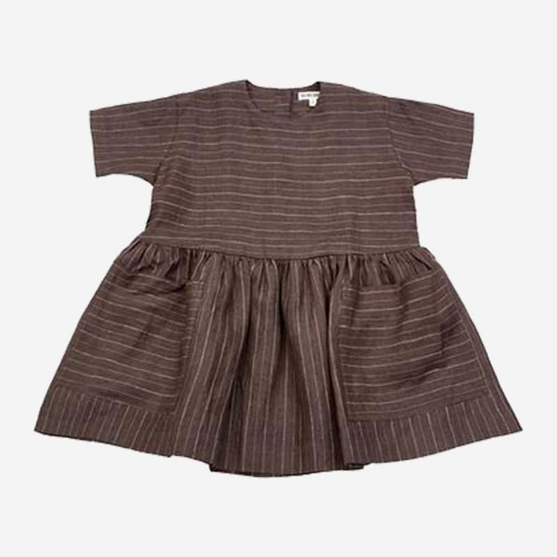 Pocket Dress Pinestripe Leinen