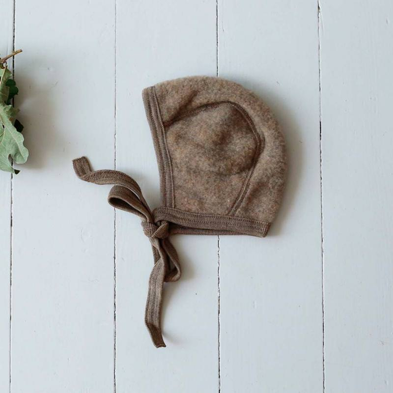 Baby Häubchen Wollfleece walnuss