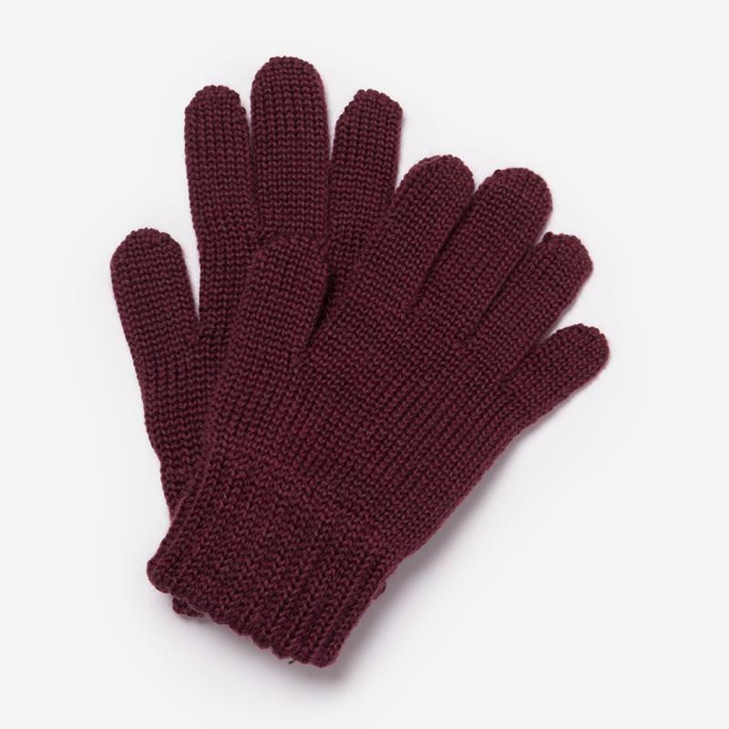 Finger Handschuhe Merinowolle bordeaux