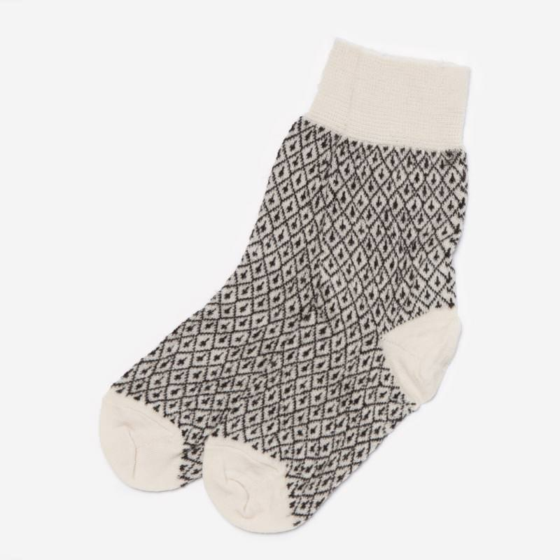 Socke Jaquard Wolle Feinstrick natur/braun