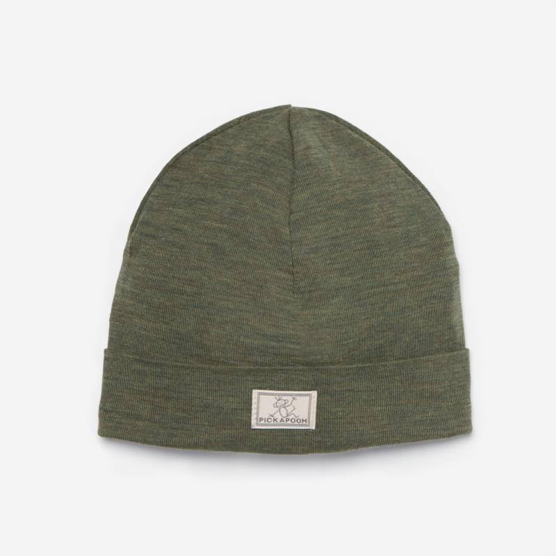 Mütze Schlupper Wolle/Seide olive