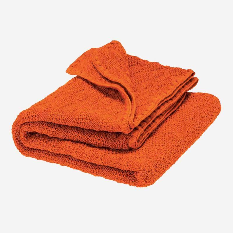 Babydecke Strickmuster Wolle orange
