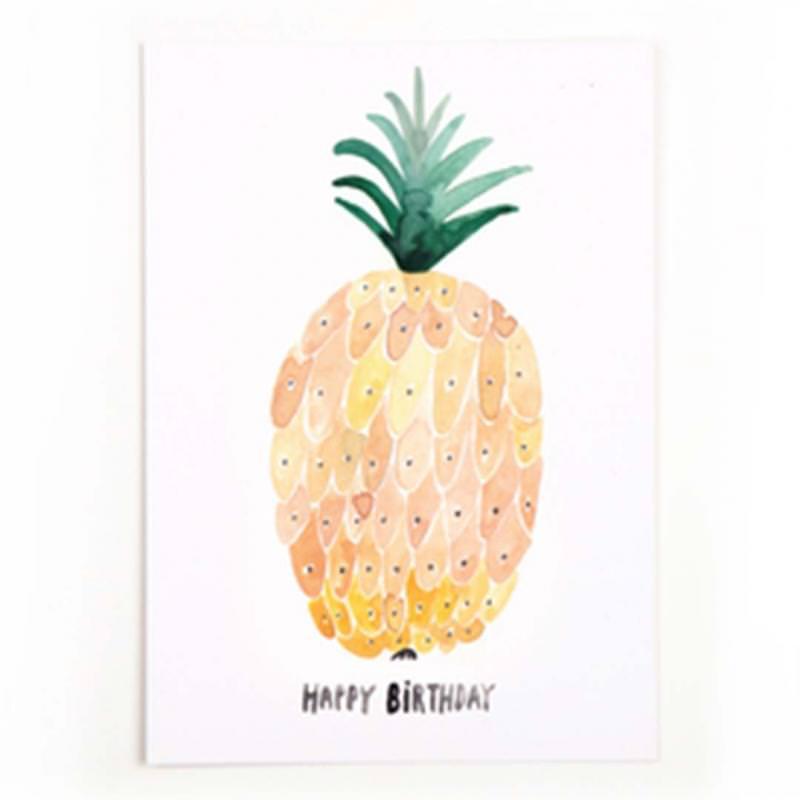 Postkarte Happy Birthday (Ananas)