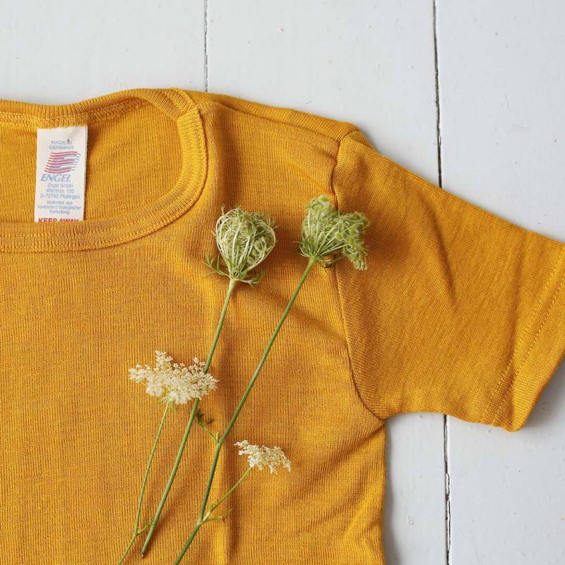 Unterhemd kurzarm Wolle/Seide safran