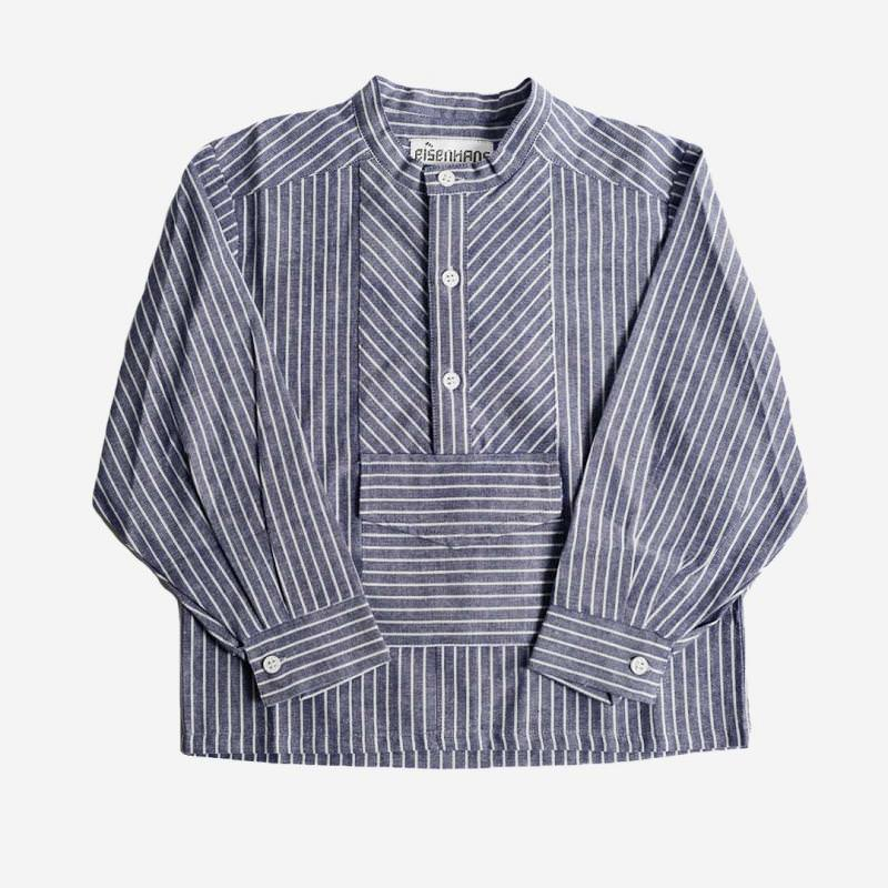 Fischerhemd denim/weiß mit Tasche