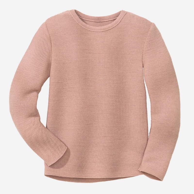 Kinder Linksstrick-Pullover von Disana aus Wolle in rose
