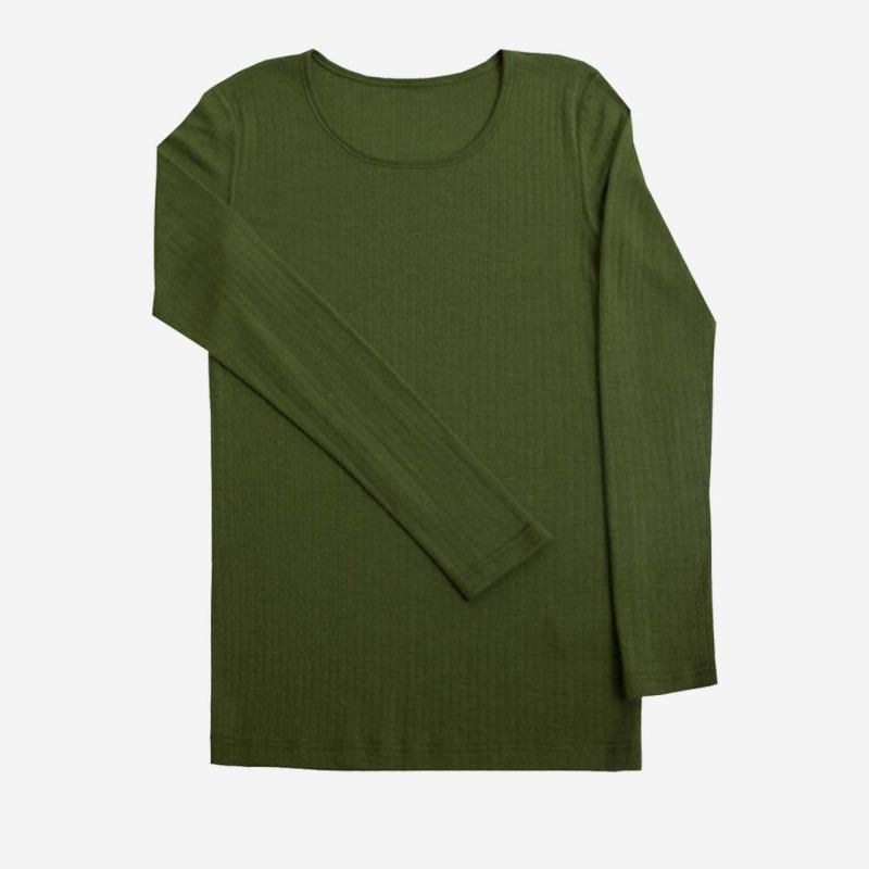 Damen Shirt Merinowolle flaschengrün