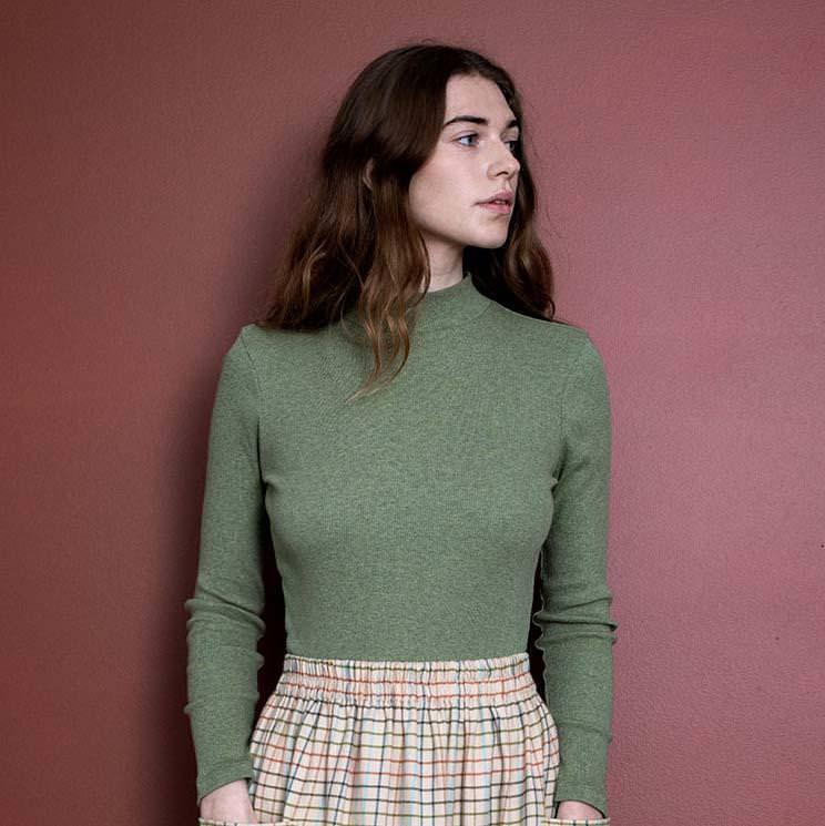 Damen Rollkragen Pullover moss