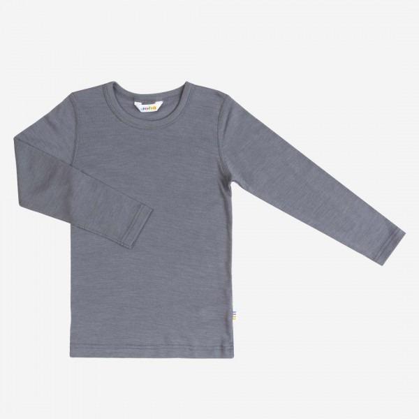 Shirt langarm Wolle/Seide grau
