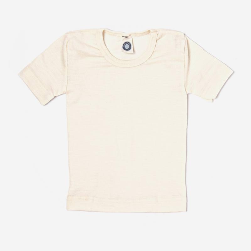 Unterhemd kurzarm Wolle/Seide natur
