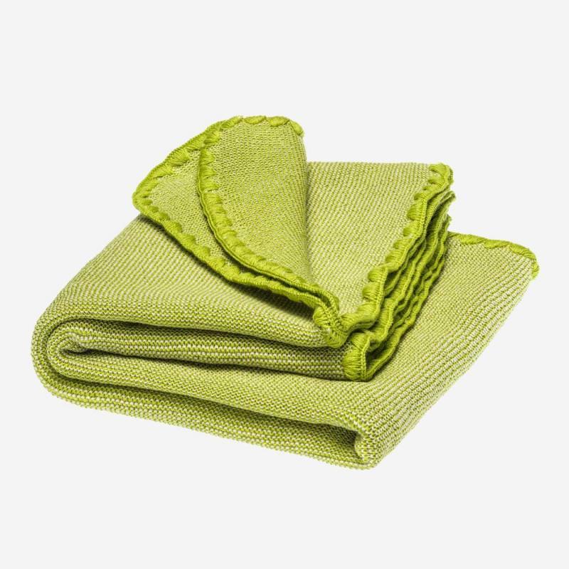 Baby Melange Wolldecke von Disana in natur/apfelgrün