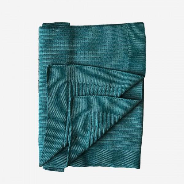 Decke gerippt Merinowolle agate green