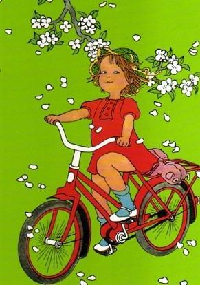 Postkarte Lotta kann Rad fahren