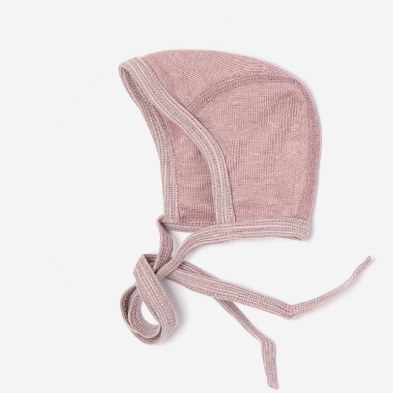 Baby Häubchen Uni Wolle/Seide altrosa