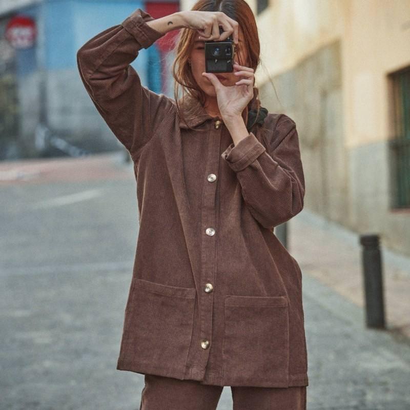 Damen Jacke GLYCINE von Poudre Organic aus Bio-Baumwolle in carafe
