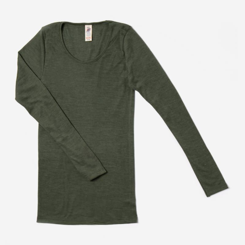 Damen Shirt Wolle/Seide olive