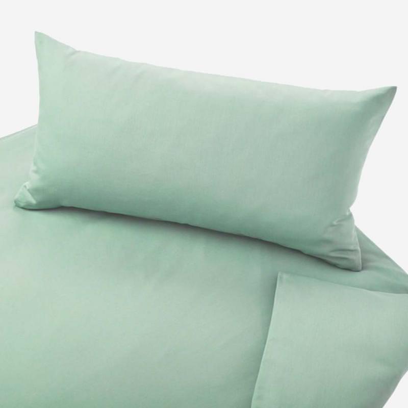Kinder Bettwäsche Satin von Cotonea aus Bio-Baumwolle in der Farbe celadon
