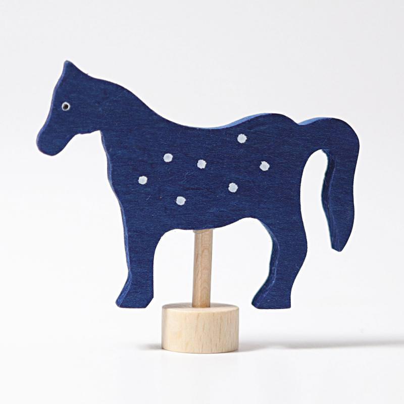 grimms figurenstecker holz geburtstagsring pferd blau gepunktet punkte gescheckt