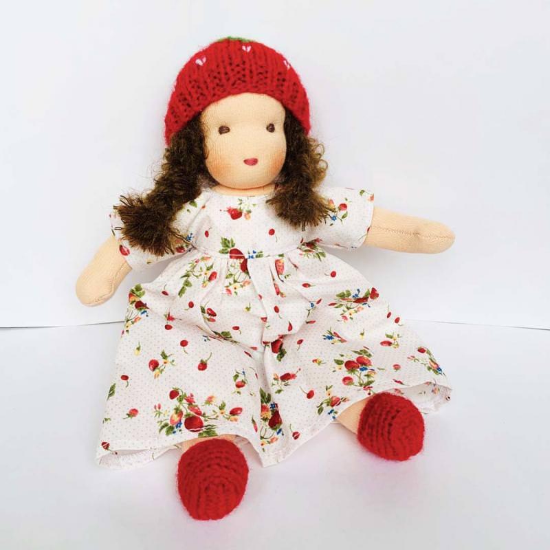 Puppen Mädchen nach Waldorfart klein braunes Haar