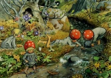 Postkarte Wichtelkinder Frühling