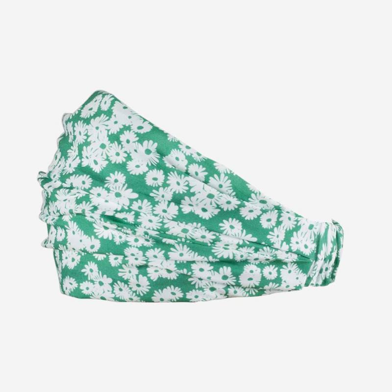 Haarband grün mit Blumen