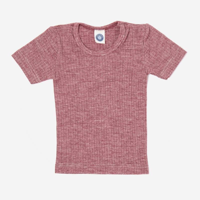 Unterhemd kurzarm Baumwolle/Wolle/Seide weinrot