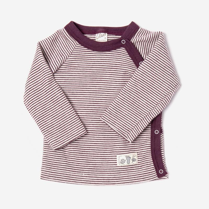 Shirt mit Knopfleiste Wolle/Seide beere