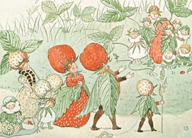 Postkarte Erdbeerkönig