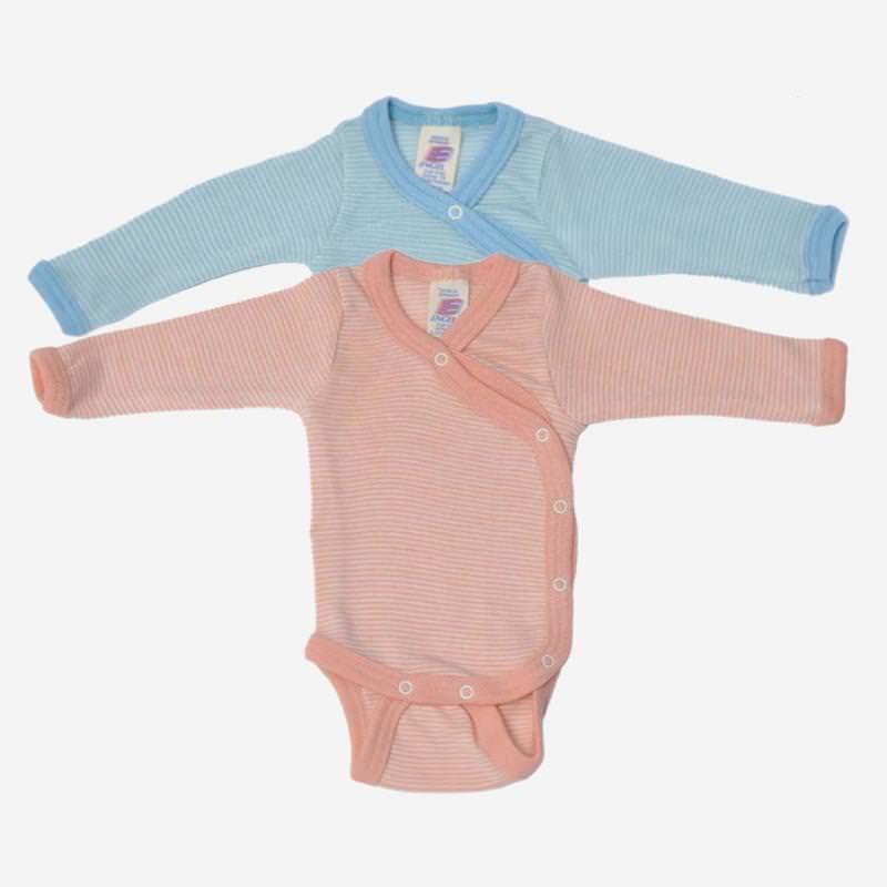 Baby Wickelbody Wolle/Seide pastell Ringel