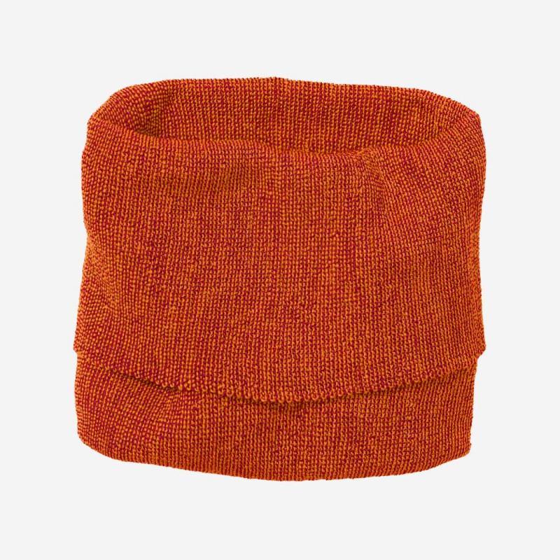 Kinder Schlauch-Schal von Disana aus Wolle in orange-bordeaux