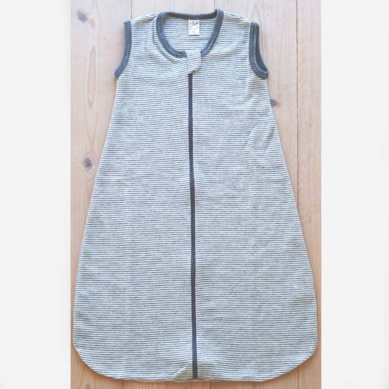 Schlafsack ohne Arm Wolle/Seide hellgrau Ringel