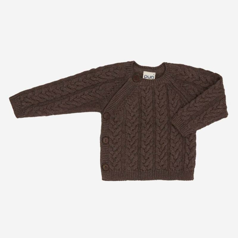 Pullover Zopfmuster Baumwolle Wolle mocca