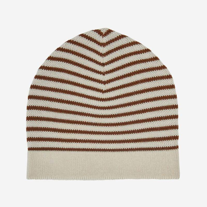 Mütze striped Wolle umber/ecru