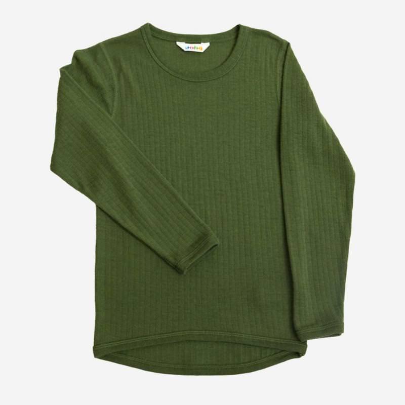 Shirt langarm Merinowolle flaschengrün