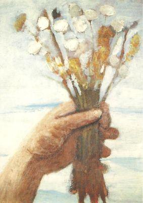 Postkarte Hand mit Blumenstrauß