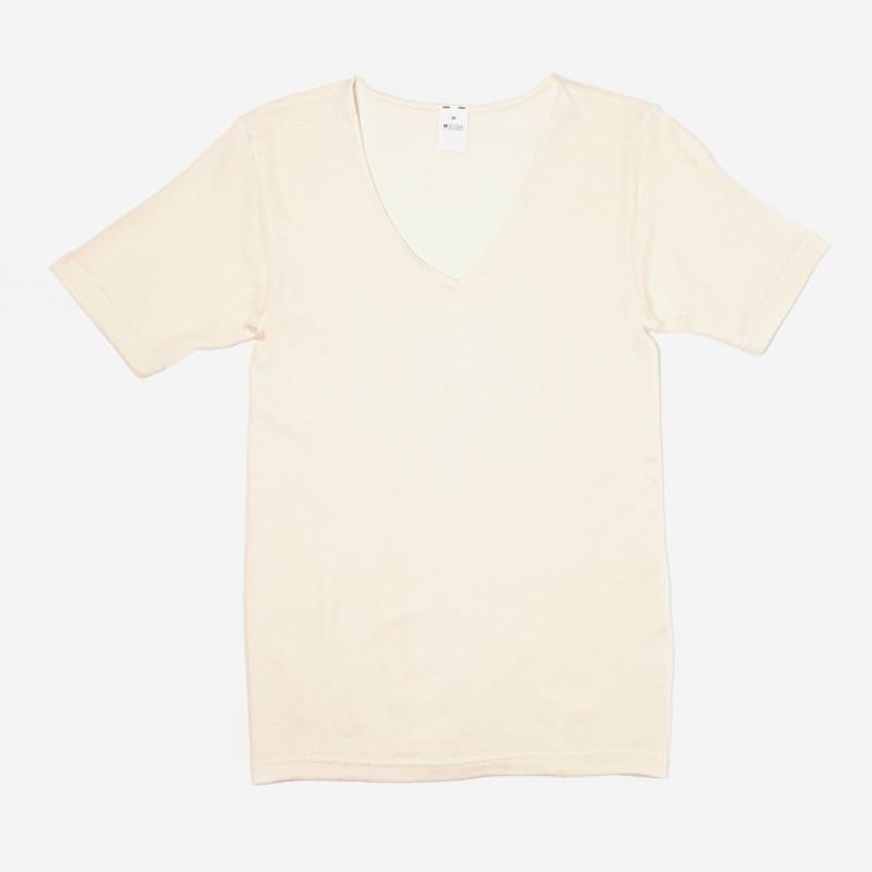 Damen Unterhemd V-Ausschnitt kurzarm Wolle/Seide natur