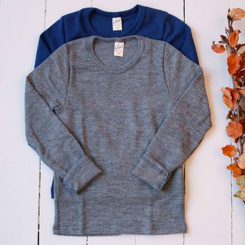 Kinder Shirt Uni Wolle/Seide
