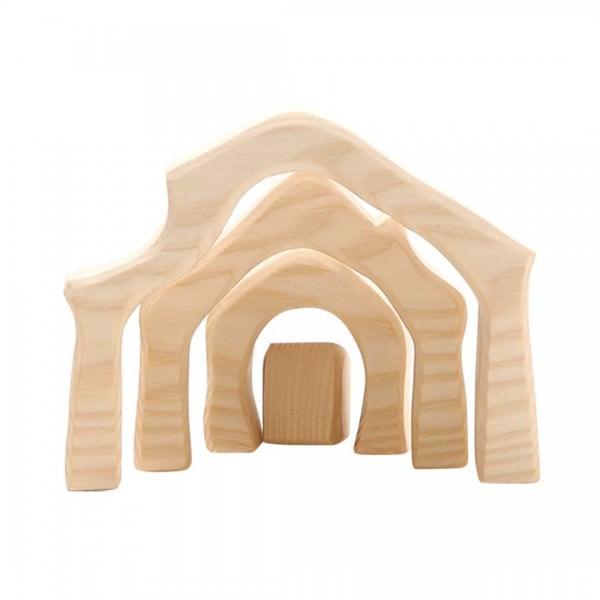 Krippenstall Holz mini 4-teilig